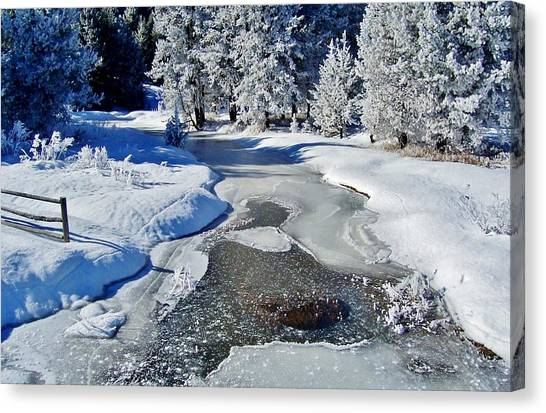 Boise National Forest Canvas Print - Frozen River On Ranch by Peggy Leyva Conley