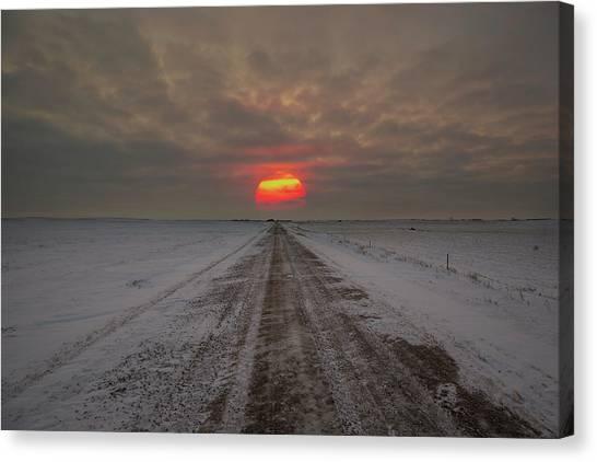 South Dakota Canvas Print - Frozen Road Sunset  by Aaron J Groen
