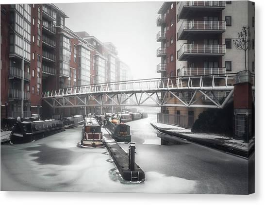Birmingham Canvas Print - Frozen Sherborne Wharf by Chris Fletcher