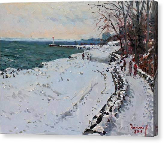 Ontario Canvas Print - Frozen Shore In Oakville On by Ylli Haruni