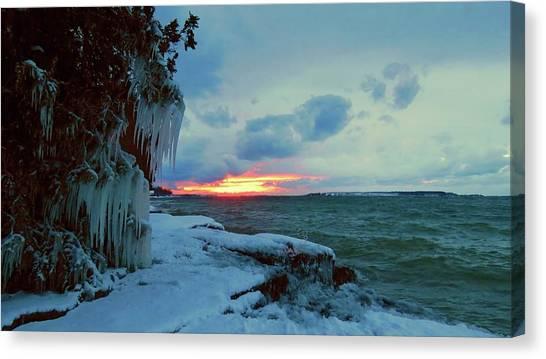 Frozen Sunset In Cape Vincent Canvas Print
