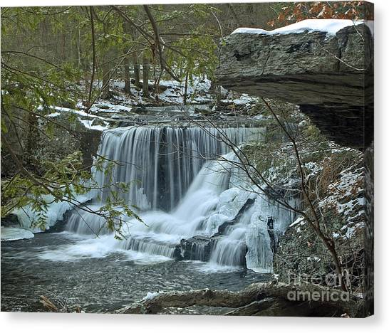 Frozen Waterfalls Canvas Print by Robert Pilkington