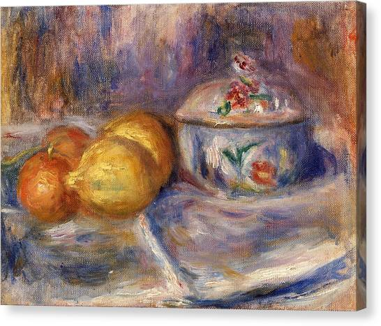 Fruit Baskets Canvas Print - Fruit And Bonbonniere by Pierre-Auguste Renoir
