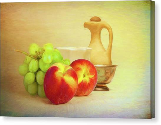 Peaches Canvas Print - Fruit And Dishware Still Life by Tom Mc Nemar