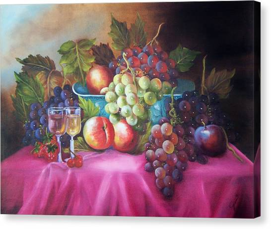 Fruit And Wine On Mauve Cloth Canvas Print