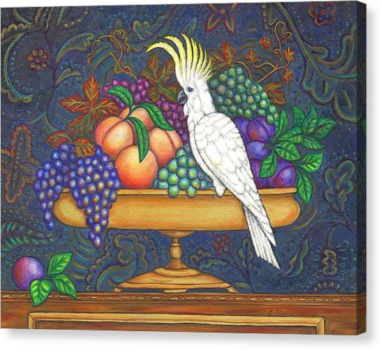 Cockatoo Canvas Print - Fruit Bowl And Cockatoo by Linda Mears