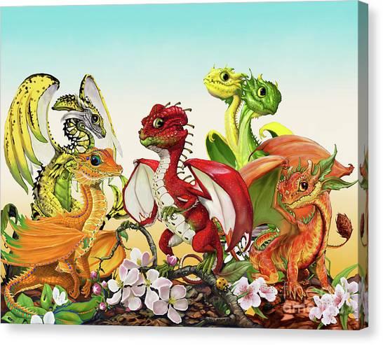 Fruit Medley Dragons Canvas Print