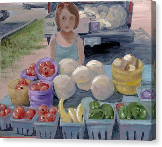 Fruit Stand Girl Canvas Print by Cathy France