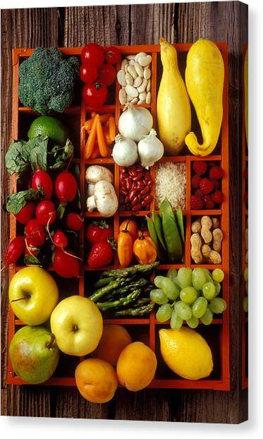 Asparagus Canvas Print - Fruits And Vegetables In Compartments by Garry Gay