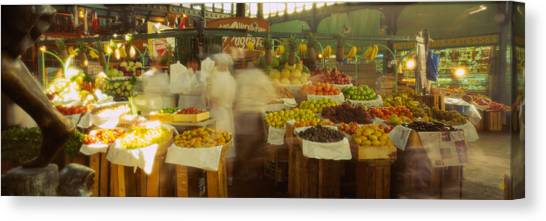 Vegetable Stands Canvas Print - Fruits And Vegetables Stall In A by Panoramic Images