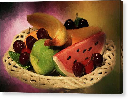 Fruit Baskets Canvas Print - Fruits Of Summer by Donna Kennedy