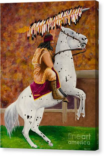 Florida State Fsu Canvas Print - Fsu Chief Osceola And Renegade by Deb Breton