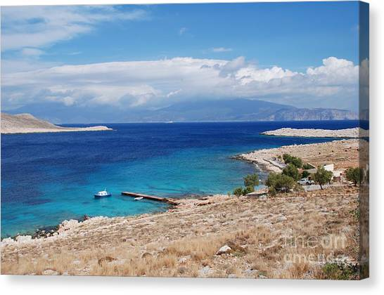 Ftenagia Beach On Halki Canvas Print