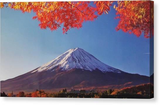 Fairies Canvas Print - Fuji Shine In Autumn Leaves by Kanna Fairy