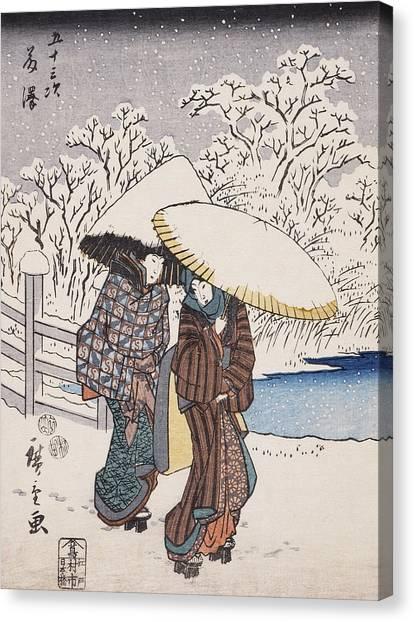 Japanese Umbrella Canvas Print - Fujisawa by Hiroshige