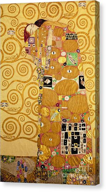 Art Nouveau Canvas Print - Fulfilment Stoclet Frieze by Gustav Klimt