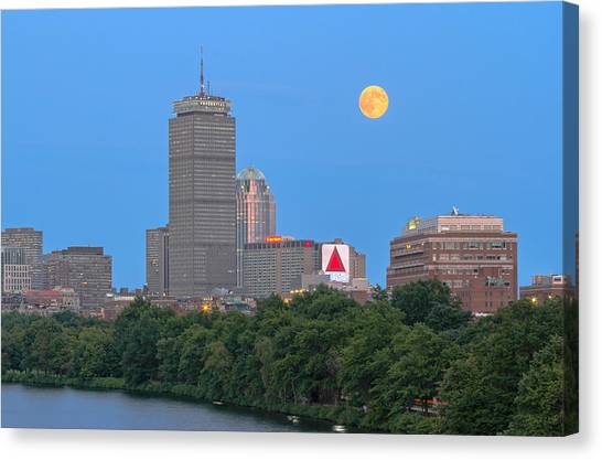 Patriot League Canvas Print - Full Moon Across Boston Skyline by Juergen Roth