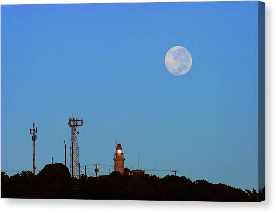 Full Moon And Lighthouse- St Lucia Canvas Print by Chester Williams