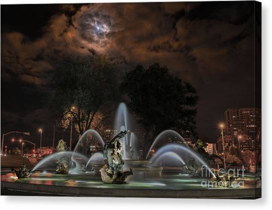 Full Moon At The Fountain Canvas Print