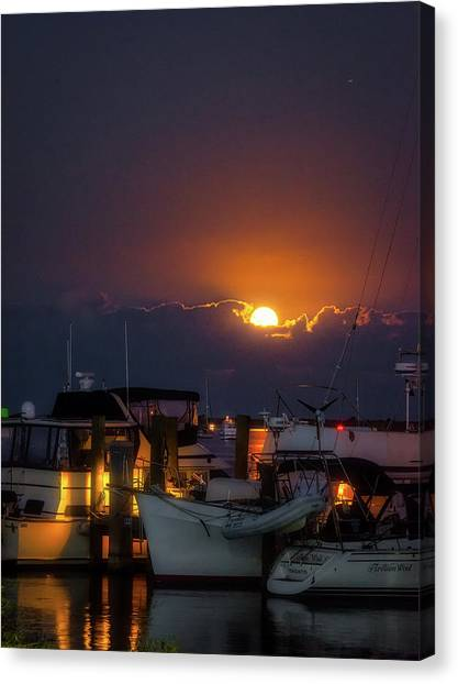 Full Moon At Titusville Canvas Print