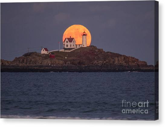 Full Moon Behind Nubble Canvas Print