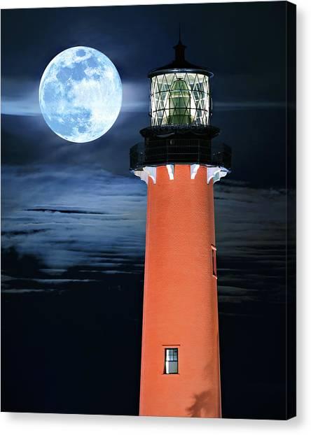 Full Moon Closeup Next To Jupiter Lighthouse In Florida Canvas Print