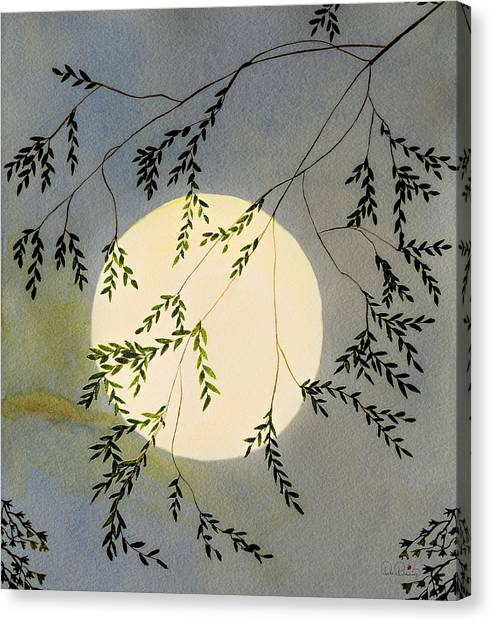 Moon And Tree Branch Painting Canvas Print