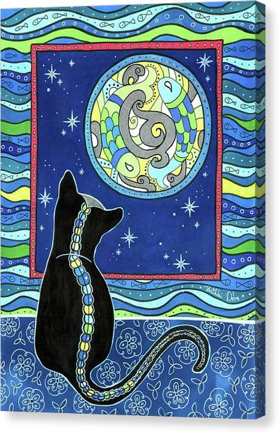 Pisces Cat Zodiac - Full Moon Canvas Print
