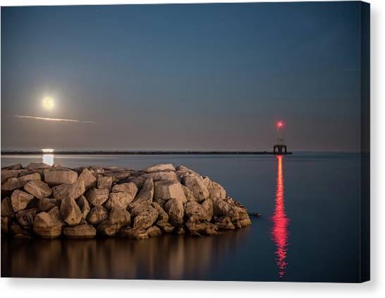 Full Moon In Port Canvas Print