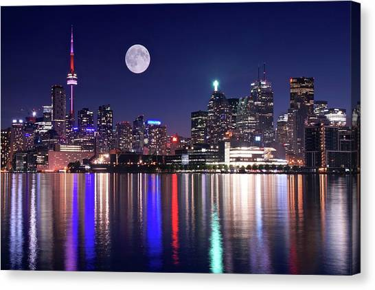 Full Moon In Toronto Canvas Print