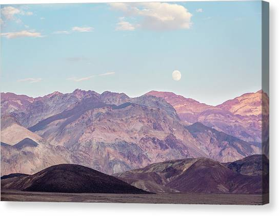 Full Moon Over Artists Palette Canvas Print