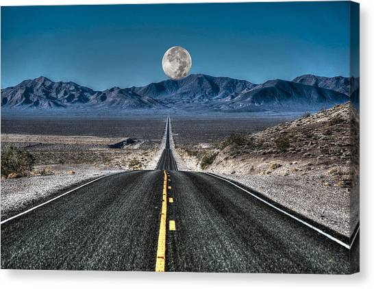 Full Moon Over Death Valley Canvas Print