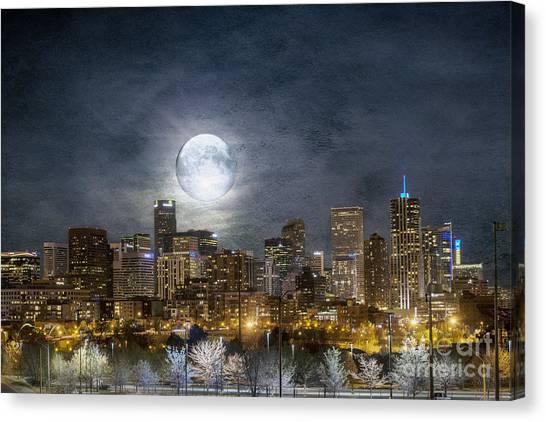 Full Moon Over Denver Canvas Print