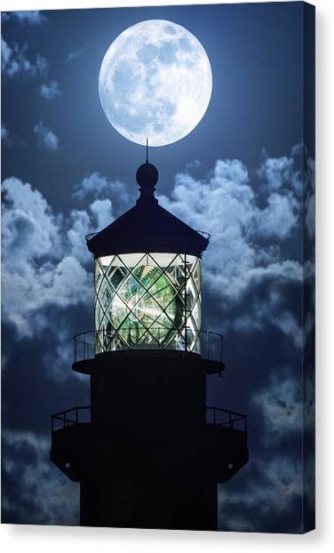 Full Moon Over Hillsboro Lighthouse In Pompano Beach Florida  Canvas Print