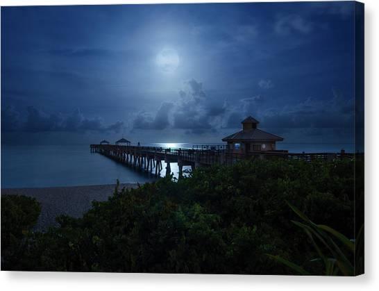 Full Moon Over Juno Beach Pier Canvas Print