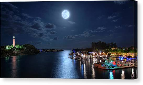 Full Moon Over Jupiter Lighthouse And Inlet In Florida Canvas Print