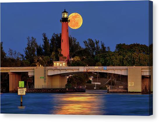 Full Moon Over Jupiter Lighthouse, Florida Canvas Print