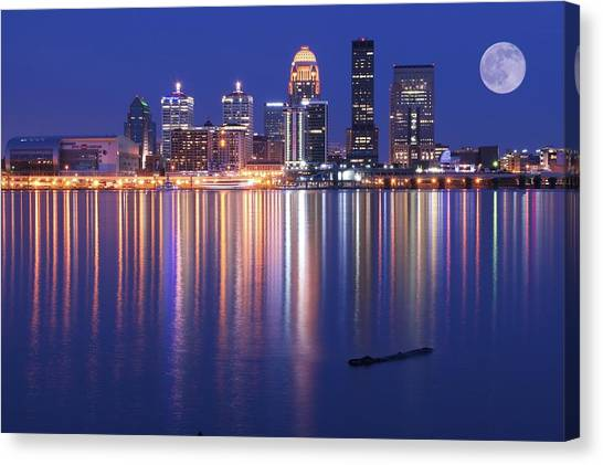 Mammoth Cave Canvas Print - Full Moon Over Louisville by Frozen in Time Fine Art Photography