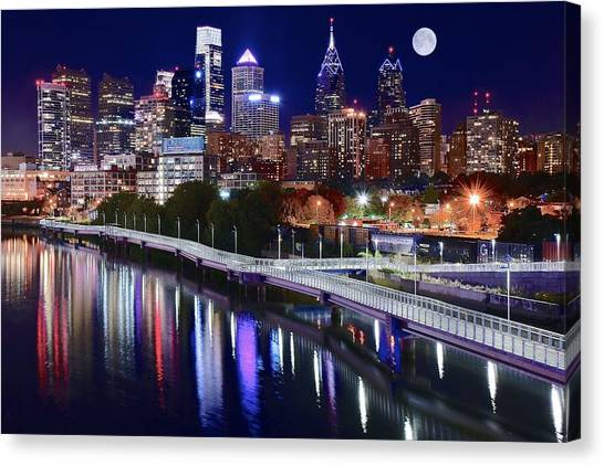 Philadelphia Flyers Canvas Print - Full Moon Over Philly by Frozen in Time Fine Art Photography