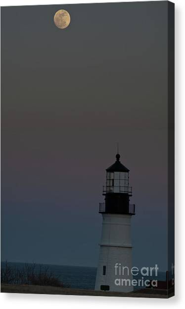 Full Moon Over Portland Headlight. Canvas Print