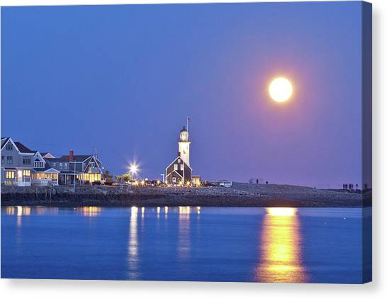 Full Moon Over Scituate Light Canvas Print