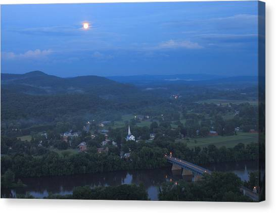 Sunderland Canvas Print - Full Moon Over The Connecticut River Valley by John Burk