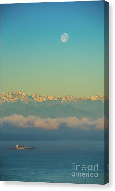 The Nature Center Canvas Print - Full Moon Over The Olympics At Sunrise by Mike Reid