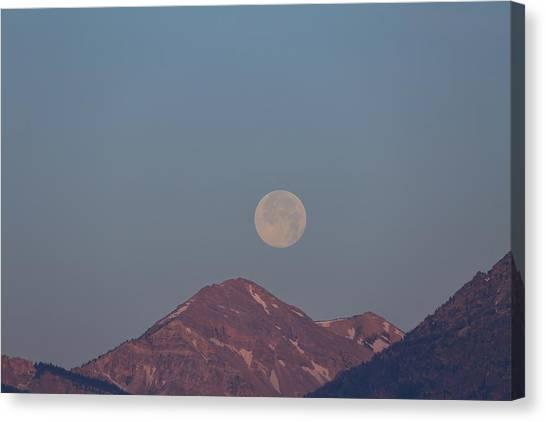Full Moon Over The Tetons Canvas Print