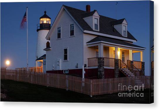 Full Moon Rise At Pemaquid Light, Bristol, Maine -150858 Canvas Print