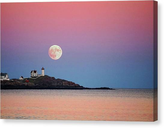 Full Moon Rising At Nubble Light Canvas Print