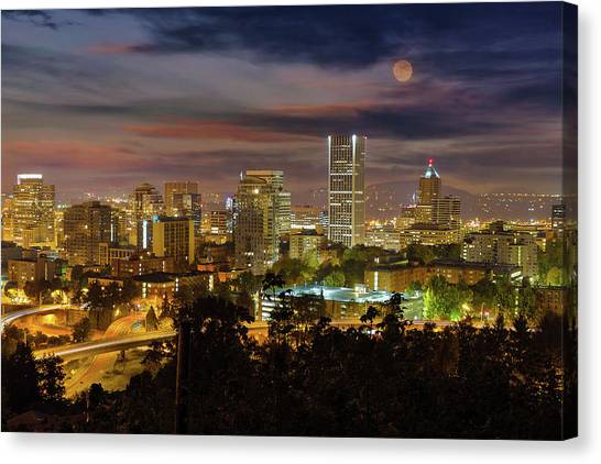 Canvas Print - Full Moon Rising Over Downtown Portland by David Gn