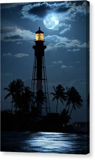 Full Moon Rising Over Hillsboro Lighthouse In Pompano Beach Florida Canvas Print