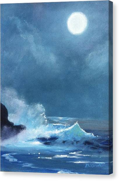 Full Moon Seascape Canvas Print
