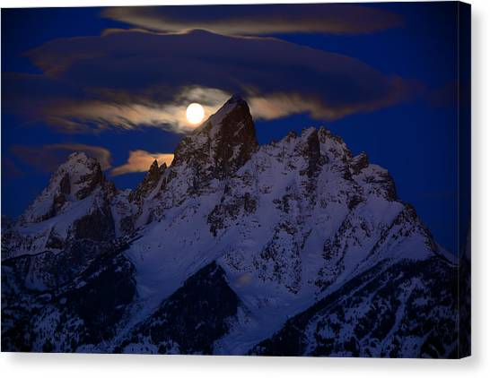 Full Moon Sets Over The Grand Teton Canvas Print